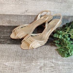 Nina kitten heel gold leather strappy heels size 7